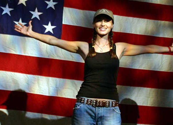 Wish Me Away: Chely Wright in front of the Stars and Stripes.